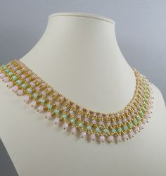Woven Collar Necklace in Spring Colors by IndulgedGirl on Etsy