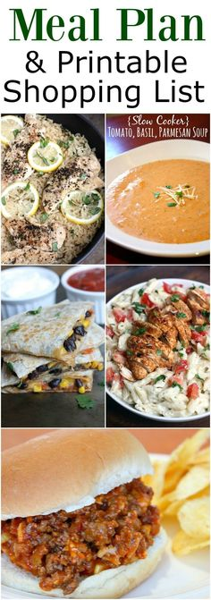 EASY Menu Plan and a printable shopping list with 5 easy dinner ideas your family will love!