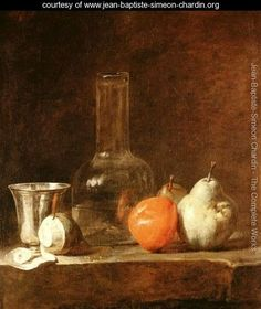 "Jean-Baptiste-Simeon Chardin (1699 - 1779) was an 18th-century French painter. He is considered a master of still life. ""Still Life With Carafe, Silver Goblet, And Fruit"""
