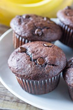 Double Chocolate Banana Muffins. These super moist banana chocolate muffins have big banana bread flavor with a double dose of chocolate. One bowl and super easy! www.justsotasty.com