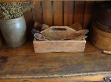 EARLY ANTIQUE PRIMITIVE OLD KNIFE BOX CUTLERY TRAY WOOD TOOL TOTE