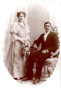 An elegant, timelessly beautifully attired Victorian couple on their wedding day in 1894.