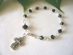 rosary bracelet Swarovski crystals black  handmade by sydemcgus, $12.00