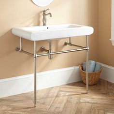 Denisa Porcelain Console Sink with Brass Stand - Oil Rubbed Bronze