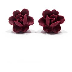 Loubijoux Blackcurrant Rose Stud Earrings (37.700 COP) ❤ liked on Polyvore featuring jewelry, earrings, accessories, stud earring set, rose gold tone jewelry, rose earrings, stud earrings and earrings jewelry