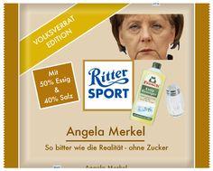 Ritter Sport Angela Merkel So bitter wie die Realität - ohne Zucker Mit 50% Essig und 40% Salz Volksverrat Edition