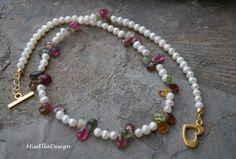 Turmalin - Perlenkette mit Turmalinen 925 Silber vergoldet - ein Designerstück von edelsteinreich bei DaWanda