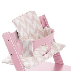 stokke tripp trapp pink chair with baby set for toddlers and pink chevron cushion