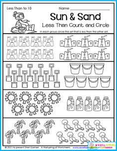 Here's a great worksheet for those summer months when we hang out in the sunshine. Kids count and circle the set with less. Please check out my Summer Counting Worksheets for Kindergarten. You'll fid this page as well as lots more counting worksheets, graphing, color by number, number tracing, and more!