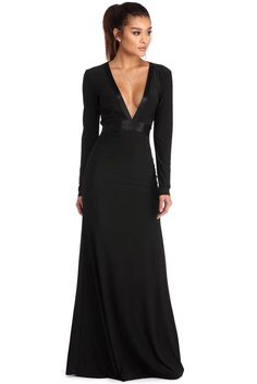 Esme Black Floor Length Dress | WindsorCloud