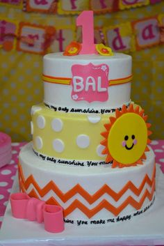You are my Sunshine Birthday Party cake!  See more party planning ideas at CatchMyParty.com!