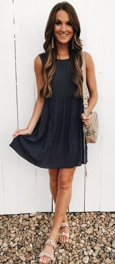 4ea657e27ea  Summer  Outfits   Sleeveless Navy Blue Dotted Summer Dress + Beige Sandals  Sleeveless Summer