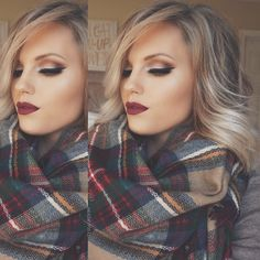 I love everything about this picture. Her hair, her hair color, her makeup, the scarf, the colors,...just everything!
