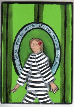 Jail You Plan For Me small original US outsider artist brut painting mixed media #NaivePrimitive