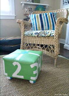 Easy DIY Update AFTER Annie Sloan Chalk Paint Easy DIY footstool update with Annie Sloan Chalk Paint® l Fresh Idea Studio