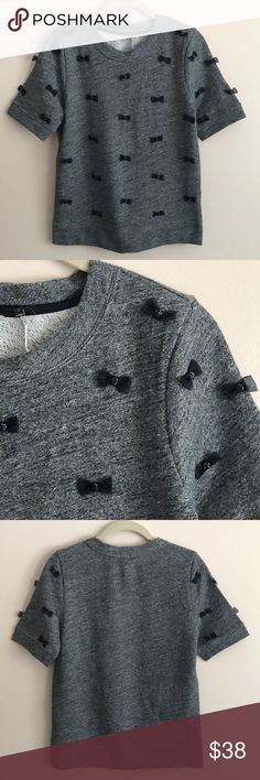 Jcrew jeweled bow sweatshirt Jcrew dark heather grey s/s sweatshirt w/ jeweled navy tulle bows all over - so so cute just never wore - perfect condition J. Crew Tops