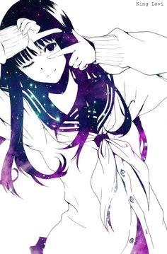 Galaxy Anime Girl - my gif and edit   We Heart It