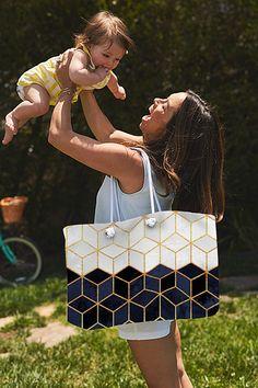 """White & Navy Cubes Weekender Tote Bag size 24x16"""". #totebag #weekender #tote #bag #getaway #travelbag"""
