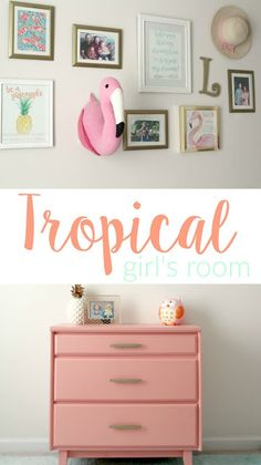 DIY Tropical toddler room / nursery. Painted coral dresser + pineapple and flamingo themed gallery wall!