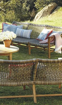 With a breathable open weave, our Isola Seating Collection is the perfect fit for arid and coastal climates alike. | Frontgate: Live Beautifully Outdoors