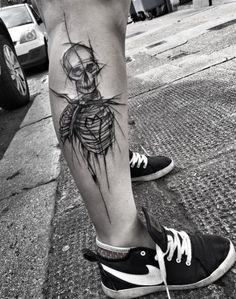 Black and Gray Skeleton Tattoo