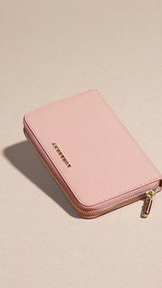 Patent London Leather Ziparound Wallet Ash Rose