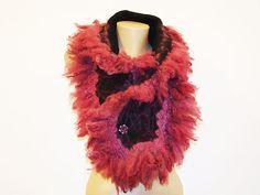 Wine Black Purple Pale Pink Scarf Chunky Fur by NataliyaMalik