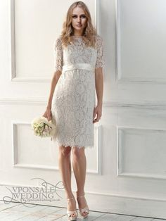 illusion neckline full lace short wedding dress DBW017 | VPonsale Wedding Custom Dresses