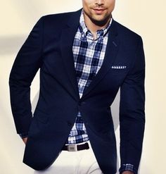 Navy blazer, navy plaid dress shirt with white slacks and navy plaid pocket square.