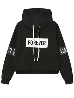 Side Zipper Graphic Patched Hoodie. Fashion Style WomenTrendy ...