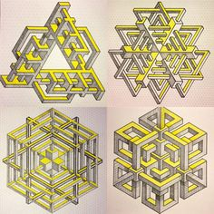 if i had known shapes like this years ago, i would never have stopped drawing this style. Impossible Triangle, Impossible Shapes, Geometric Designs, Geometric Shapes, Geometric Patterns, Graph Paper Art, Sacred Geometry Tattoo, Mc Escher, Math Art