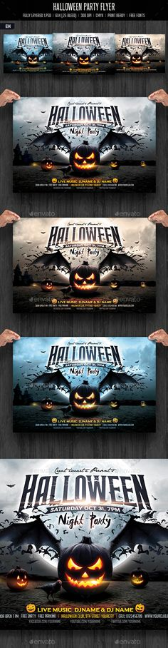 Halloween Party Chalk Flyer Halloween design, Psd templates and - halloween party flyer