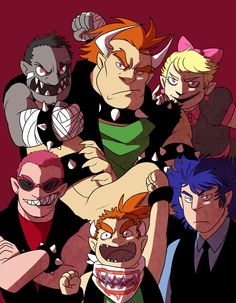 Humanized Bowser and the Koopalings. Super Mario Bros, Super Mario Games, Super Smash Bros, Nintendo Game, Nintendo Characters, Game Character, Character Design, Marvel Cartoon Movies, Metroid