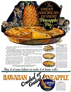 5 easy and elegant old-fashioned pineapple pie recipes from Taste the classic tropical-style dessert that still gets raves - Tropical Desserts, Fun Desserts, Dessert Recipes, Retro Recipes, Vintage Recipes, Vintage Food, Vintage Cooking, Pineapple Pie Recipes, 1920s Food