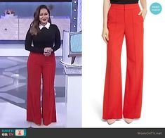 69042153345771 Adrienne s red pants on The Real. Outfit Details  https   wornontv.