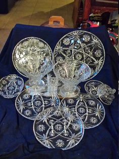 Star Of David Anchor Hocking Mid Century EAPC 2 Bowls, 2 Platters,Candy dish w/Lid, Divided Relish Dish,3 Plates & 1 Glass EAPC  Set 11peice