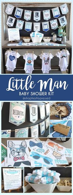 Ladies, I have arrived!!  What a stylish way to welcome the new Little Man in your life! With Moustaches, Top Hats and Bow-ties, this Iron-On decorating kit will easily entertain your Baby Shower guests with some Do-It-Yourself fun! In shades of baby blues, navy, and greens, it perfectly compliments any boy themed baby shower! Carefully crafted with Onsies, Iron On Transfer and more, these kits have everything you need to make planning your shower so much easier!