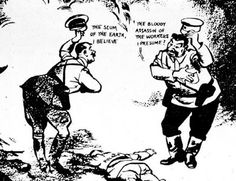 """By Sir David Low, in 1939. In this cartoon, named """"Rendezvous"""", he depicted Hitler and Stalin bowing and greeting each other respectively as """"the scum of the earth"""" and """"the bloody assassin of the workers"""". This piece led to his work being banned in various countries."""