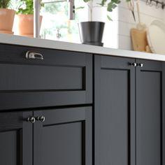 New Kitchen Black Cabinets Ikea Ideas Black Ikea Kitchen, Black Kitchen Cabinets, Kitchen Units, Kitchen Doors, Kitchen Handles, Black Kitchens, Home Kitchens, Cosy Kitchen, Kitchens