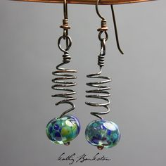 Lampwork Bead and Copper Earrings