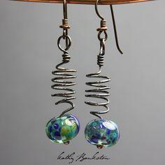 Lampwork Bead and Copper Earrings
