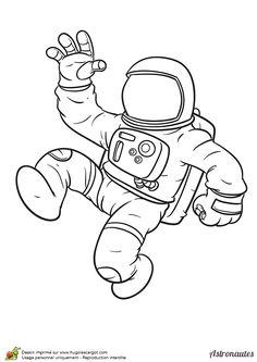 Coloriage d'un cosmonaute qui fait signe de la main.