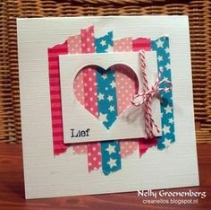 Valentine's Day Card - punched out heart over strips of washi tape Paper Cards, Diy Cards, Love Cards, Washi Tape Cards, Masking Tape, Karten Diy, Tape Crafts, Valentine Day Cards, Creative Cards