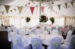 Bunting Queen's Dusky Pink and Sage Green rage of Hire House bunting at a marquee wedding. From per metre for a 4 day hire period. Marquee Wedding, Pure White, Bunting, Rage, Period, Action, Pure Products, Table Decorations, Green