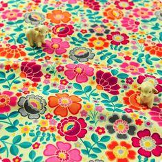 Flowers - multicolour floral cotton fabric FQ1504-06