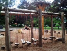 Natural Play Spaces, Outdoor Play Spaces, Outdoor Gym, Backyard Obstacle Course, Play Structures, Outdoor Structures, Outdoor Learning, Backyard For Kids, Learning Spaces