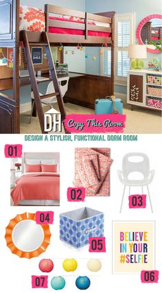 Copy This Room: 7 Stylish Dorm Room Decorating Ideas >> http://blog.hgtv.com/design/2015/07/27/copy-this-room-7-stylish-dorm-room-decorating-ideas/?soc=pinterest