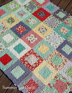 Modern Lap Quilt - Primary Colors Quilt - Large Toddler Quilt - Red Blue Yellow Green Quilt - Patchwork Quilt - Ready to Ship Summer Lee Quilts: Framed Squares in April Showers - A Finished Quilt! Happy Monday to you! Scrappy Quilt Patterns, Jellyroll Quilts, Lap Quilts, Scrappy Quilts, Quilt Blocks, Quilting Ideas, Layer Cake Quilts, Toddler Quilt, Green Quilt