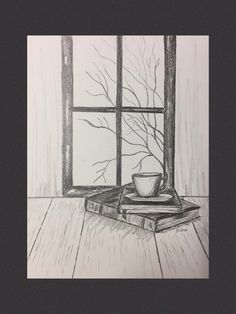 Original graphite drawing, pencil sketch, still life, Coffee and Books, fall scene, not a print by WatercolorArtFinds on Etsy