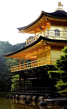 The golden walls of the Kinkakuji Temple in Kyoto, Japan.